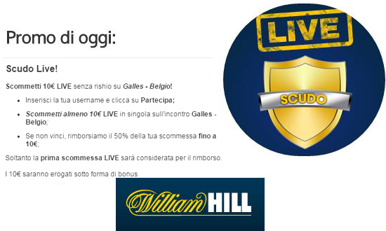 Promo di oggi William Hill