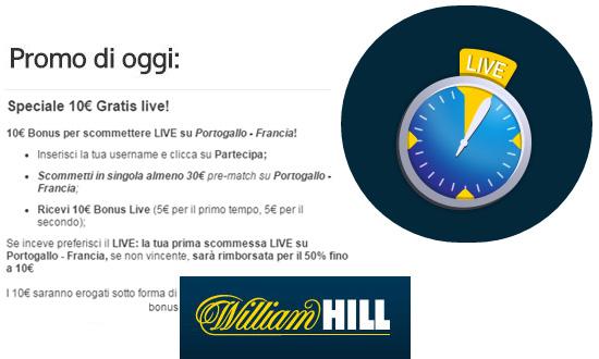 Promozione William Hill su Portogallo - Francia 10 luglio 2016