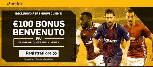 betfair bonus benvenuto 100 euro