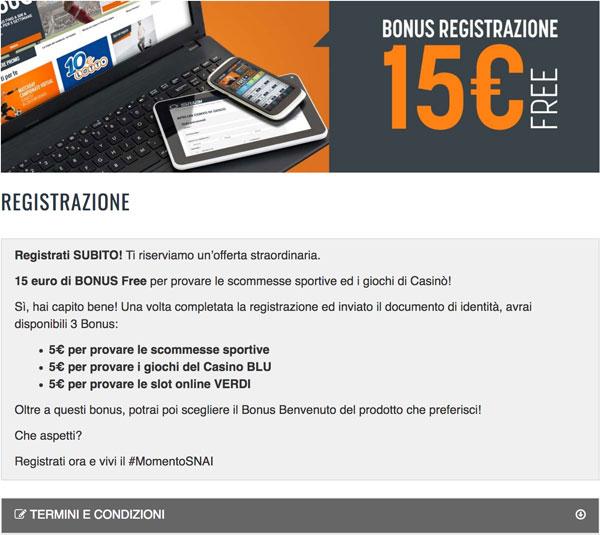 snai bonus 15 euro free