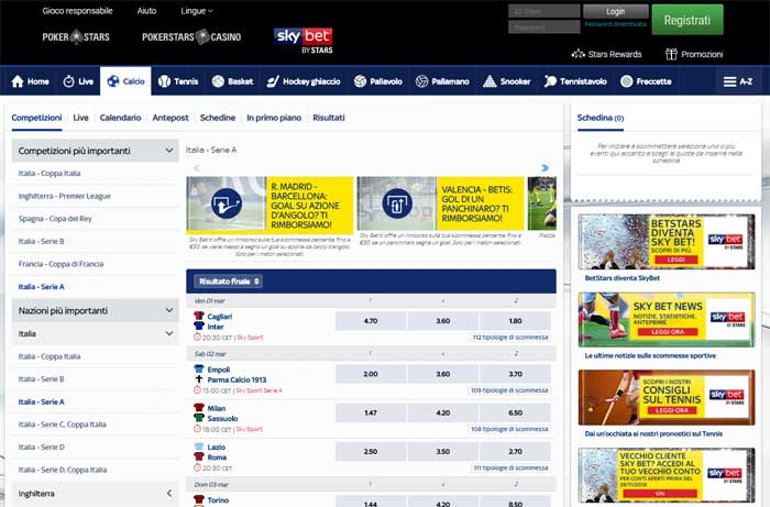 palinsesto scommesse skybet by stars