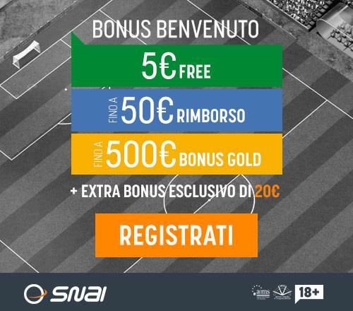 bonus benvenuto snai scommesse 555 euro