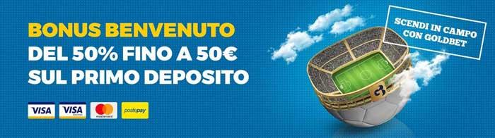 bonus goldbet 50% primo deposito fino a 50 euro
