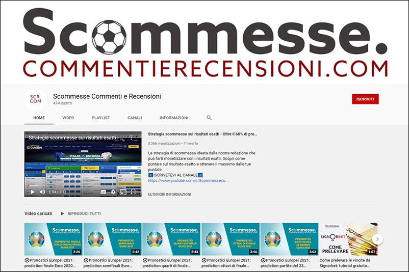Screenshot canale you tube di scommesse.commentierecensioni.com